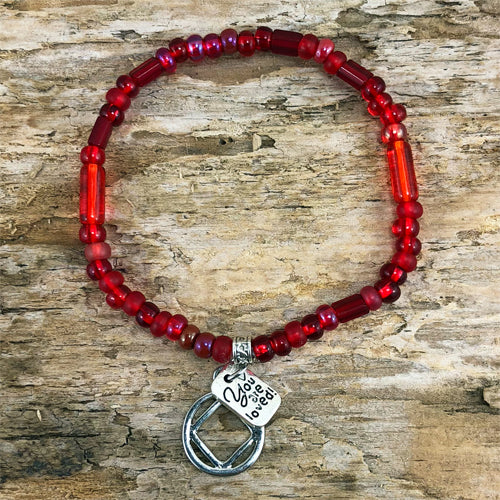 "NA -  ""Higher Power"" Red colored Czech beads stretch bracelet - ""You are loved"""