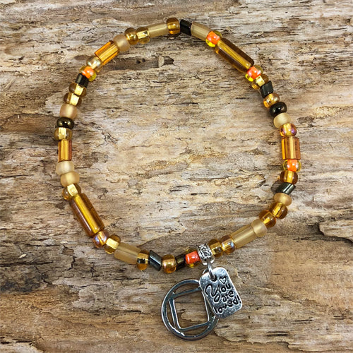 "NA -  ""Higher Power"" Golden Yellow colored Czech beads stretch bracelet - ""You are loved"""