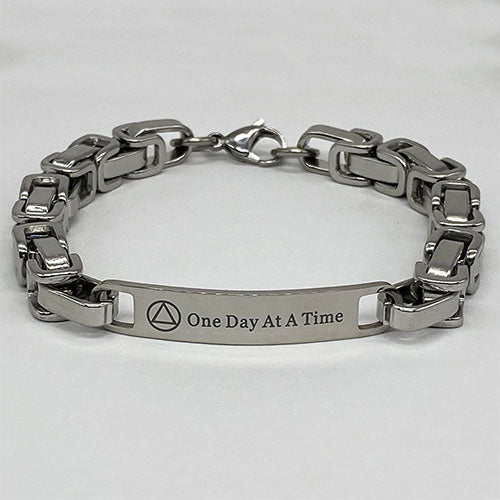 "Men's Stainless Steel ""One Day At A Time"" AA Bracelet"