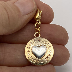 """Faith Hope and Love"" Gold and Silver Charm"