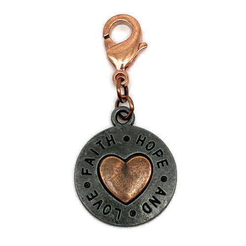 """Faith Hope and Love"" Gunmetal and Copper Charm"