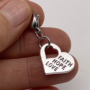 """Faith Hope and Love"" Heart Charm"