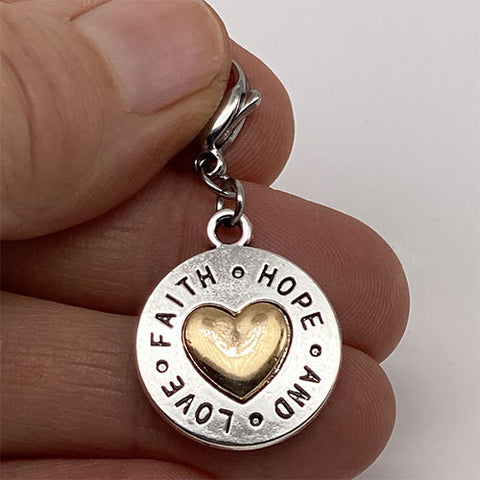 """Faith Hope and Love"" Silver and Gold Charm"
