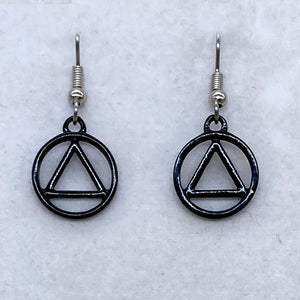 Alcoholics Anonymous Black Earrings