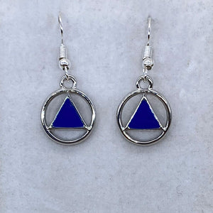 Alcoholics Anonymous Blue Earrings