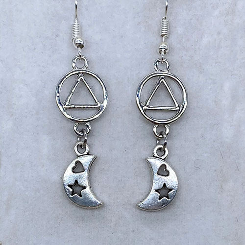 Alcoholics Anonymous Crescent Moon Dangle Earrings