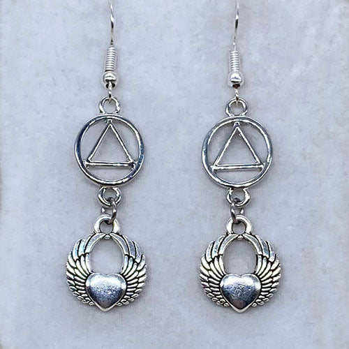 Alcoholics Anonymous Winged Heart Dangle Earrings