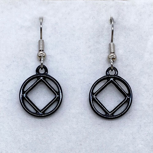 Narcotics Anonymous Black Earrings