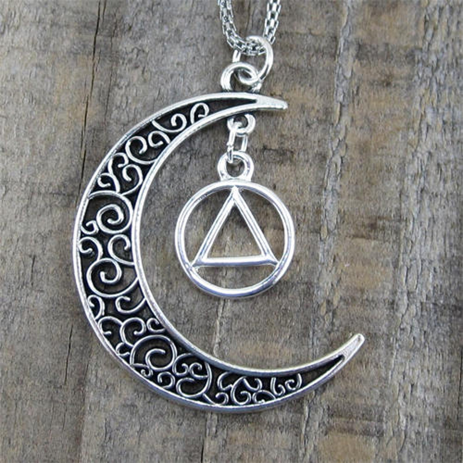 "Alcoholics Anonymous Moon Pendant - ""Higher Power"""