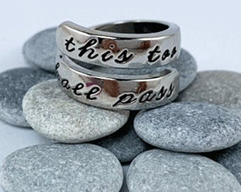 "12 Step ""This too shall pass"" ring - silver plate"