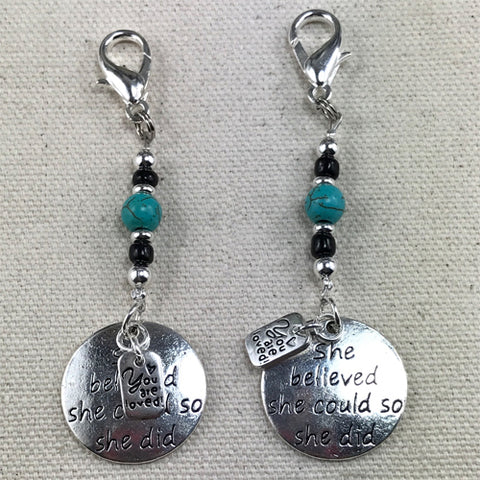 """She said she could, and she did"" - Inspirational key tag charm"