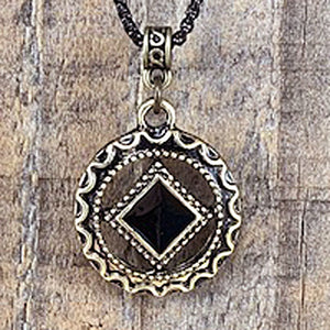 Narcotics Anonymous Antiqued Gold Black Enamel Cloisonné Pendant
