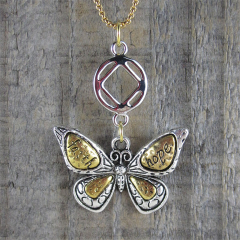 "Narcotics Anonymous Butterfly Pendant - ""Hope & Faith"""
