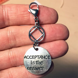 "Narcotics Anonymous ""Acceptance is the Answer"" key tag charm"
