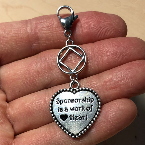 "Narcotics Anonymous ""Sponsorship is a work of Heart"" key tag charm"