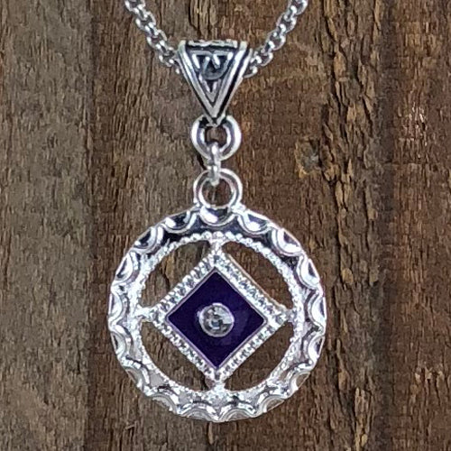 Narcotics Anonymous Purple/Blue Enamel Cloisonné Pendant with Crystal
