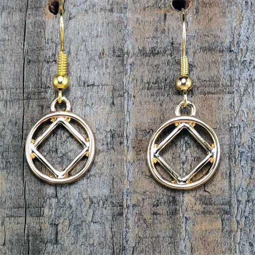 Narcotics Anonymous Gold Tone Earrings