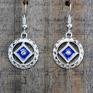 Narcotics Anonymous Blue Enamel Cloisonné Earrings with Crystal