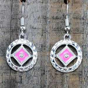 Narcotics Anonymous Pink Enamel Cloisonné Earrings with Crystal