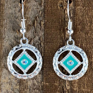 Narcotics Anonymous Teal Enamel Cloisonné Earrings with Crystal