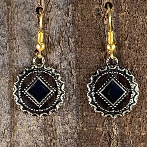 Narcotics Anonymous Antiqued Gold Black Enamel Cloisonné Earrings