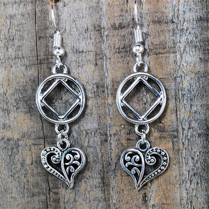 Narcotics Anonymous Heart Dangle Earrings