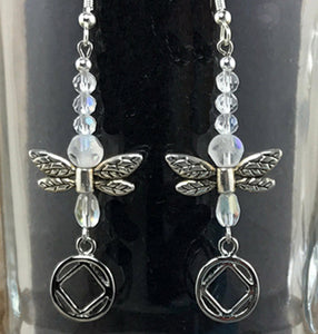 Narcotics Anonymous Dragonfly Earrings - Crystal