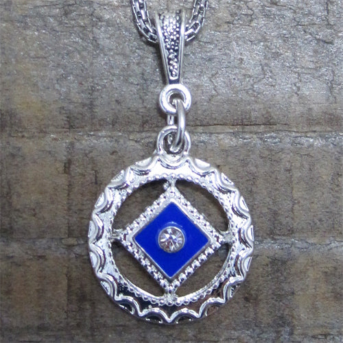 Narcotics Anonymous Blue Enamel Cloisonné Pendant with Crystal