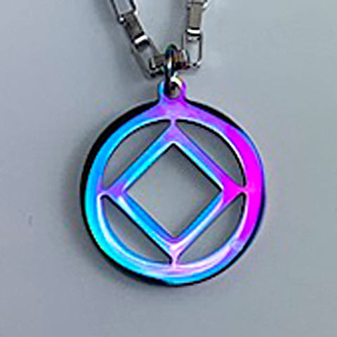 Narcotics Anonymous Logo Stainless Steel Cutout Pendant -Rainbow Anodized