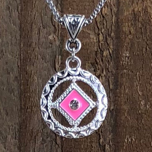 Narcotics Anonymous Pink Enamel Cloisonné Pendant with Crystal