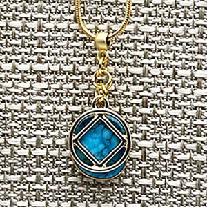 Narcotics Anonymous Gold and Turquoise Pendant