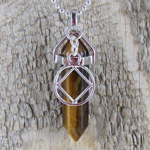 "Narcotics Anonymous Tiger Eye Pendant - ""Honesty"""