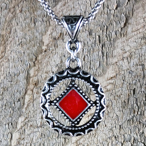 Narcotics Anonymous Red Enamel Cloisonné Pendant