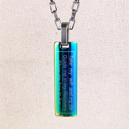 """Just for Today"" and NA ""Third Step Prayer"" Skinny Dog Tag Stainless Steel Pendant - Rainbow"