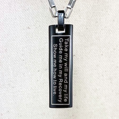 """Just for Today"" and NA ""Third Step Prayer"" Skinny Dog Tag Stainless Steel Pendant - Black"