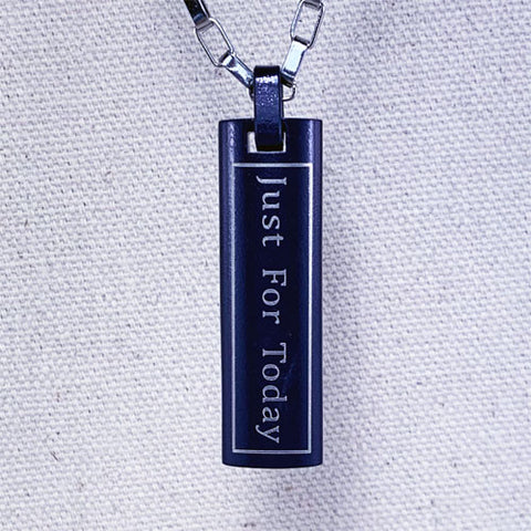 """Just for Today"" and NA ""Third Step Prayer"" Skinny Dog Tag Stainless Steel Pendant - Dark Blue"