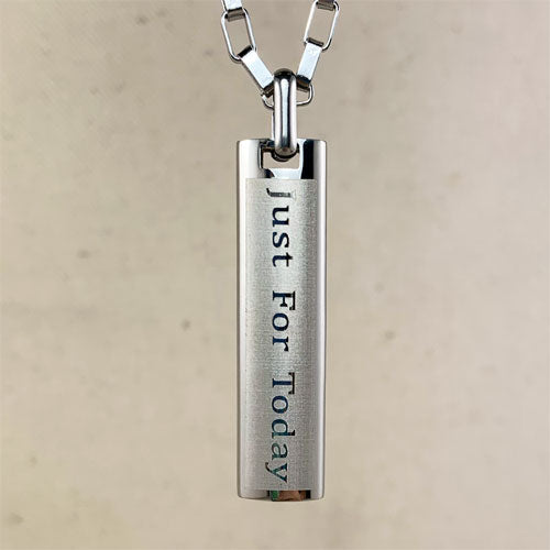 """Just for Today"" and NA ""Third Step Prayer"" Skinny Dog Tag Stainless Steel Pendant - Silver"