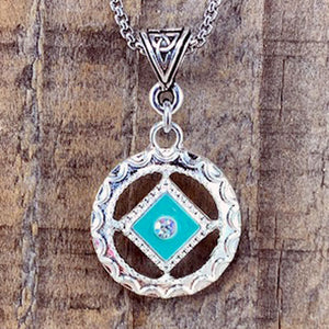Narcotics Anonymous Teal Enamel Cloisonné Pendant with Crystal