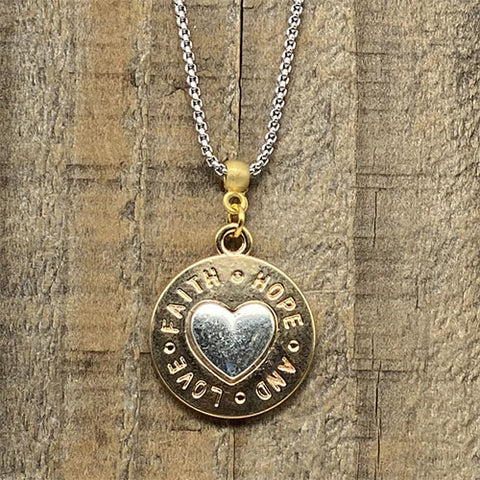 """Faith Hope and Love"" Gold and Silver Heart Pendant"