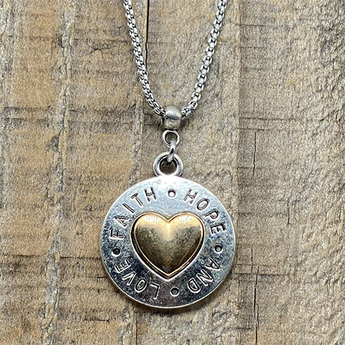 """Faith Hope and Love"" Silver and Gold Heart Pendant"