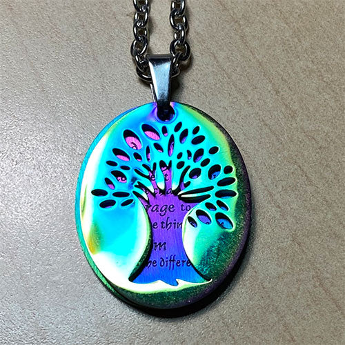 Tree of Life - Serenity Prayer Stainless Steel Pendant - Rainbow Anodized