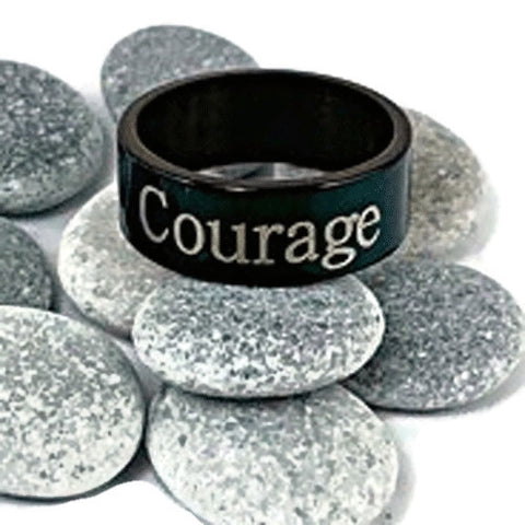 "Stainless Steel Black ""Courage"" Ring"