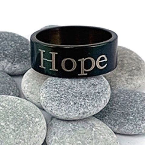 "Stainless Steel Black ""Hope"" Ring"