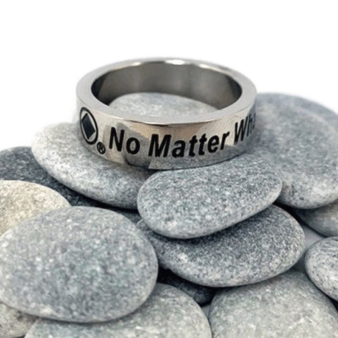 "Stainless Steel NA ""No Matter What"" Ring"
