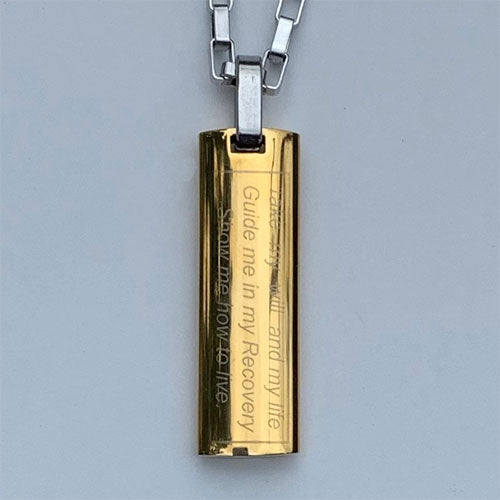 """Just for Today"" and NA ""Third Step Prayer"" Skinny Dog Tag Stainless Steel Pendant - Gold colored"