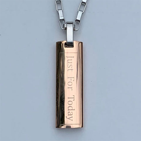 """Just for Today"" and NA ""Third Step Prayer"" Skinny Dog Tag Stainless Steel Pendant - Rose Gold colored"