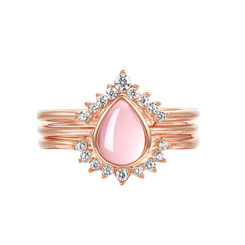 """Serene"" Natural Rose Quartz Rectangle-Cut Sterling Silver Ring in Rose Gold"
