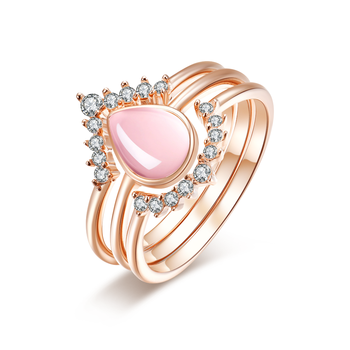 """Everafter"" Natural Rose Quartz Oval-Cut Sterling Silver Three-Piece Stackable Ring Set in Rose Gold"