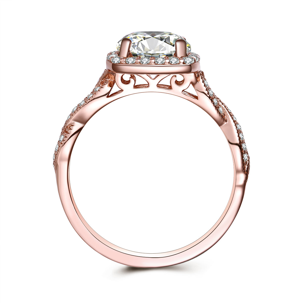 """Amore"" Round Halo Infinity Twist Sterling Silver Ring in Rose Gold"