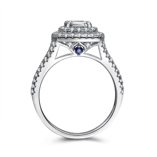 """Angelic"" Classic Double Halo Round-Cut Split Shank Engagement Ring With Blue Sapphire Stone in Sterling Silver"
